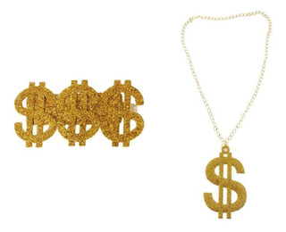 Brillo Oro Us Dollar Collar Conjunto De Anillos Hip Hop Tra