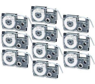 Imagen 1 de 4 de 10pk Compatible Casio Xr-9we Negro Sobre Cinta De Marca Blan