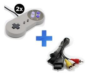 Kit Super Nintendo - 2 Controles E 1 Cabo Av
