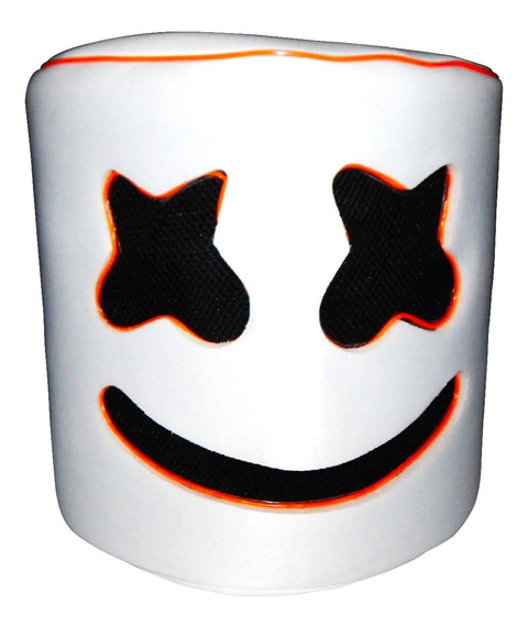 Casco Cabeza Mascara Luz Led Naranja Marshmello Marshmallow