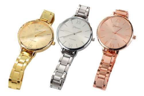 3 Relojes Geneva Elegantes Dama + Hermosas Pulsera Clavo