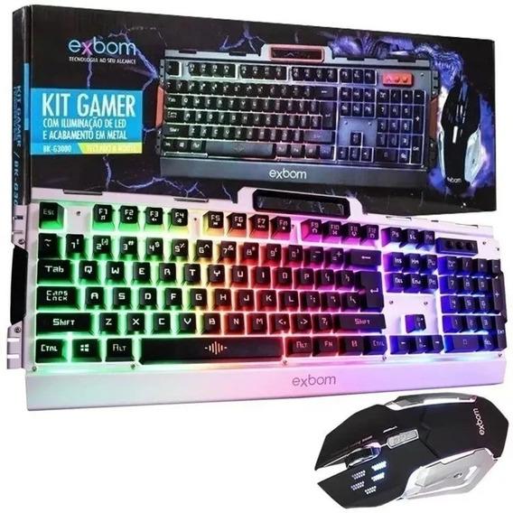 Kit Gamer Teclado E Mouse Com Led Bk-g3000 Exbom Usb