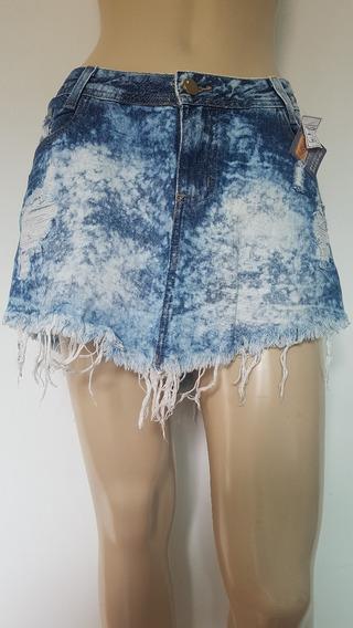 Mini Saia Cambos Com Barra Desfiada Jeans