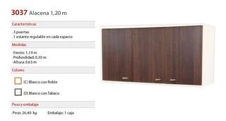 Y Alacena Cocina Platinum 30370d - 120cm Ancho - Tabaco