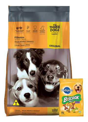 Imagen 1 de 3 de Three Dogs Original Cachorros 15kg + Regalo !!