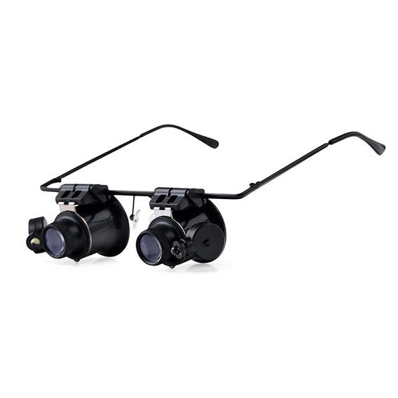 20x Binocular De Aumento Óculos W / 2 Led Luzes - Preto