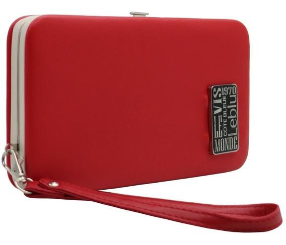 Billetera Portacelular Mujer Cuero Pu Cherry Leblu B980