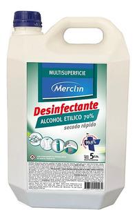 Desinfectante Alcohol Etílico 70% 5 L Merclin Listo Usar Mm
