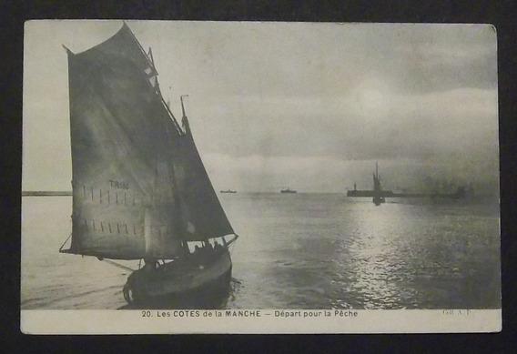 Postal Francia Normandía Costas Barco Usada Exc 1909
