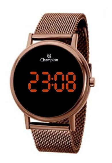 Relógio Champion Unissex Digital Led Ch40179r Marrom