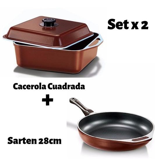 Cucina Donna - Cacerola Cuadrada 26cm + Sarten 28cm - Mendoza