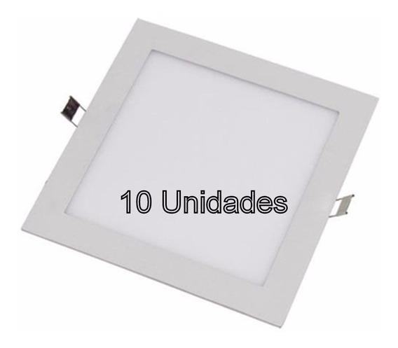 Kit 10 Painéis De Embutir Led 12w 17cm - Quarto Sala Cozinha