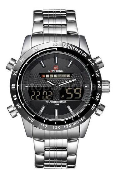 Relógio Masculino Naviforce Aço Inox Pulseira Prata