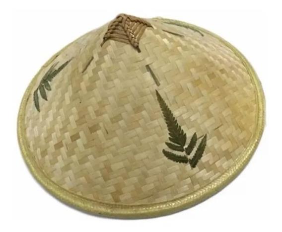 Sombrero Chino Bambu Tejido A Mano Unisex