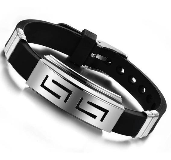 Pulseira Bracelete Masculina Silicone E Aço Inox 316l Oferta