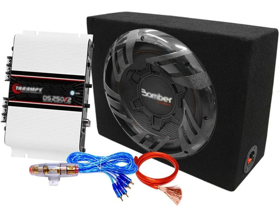 Subwoofer 12 Carbon 250w + Potencia Taramps + Kit Cables