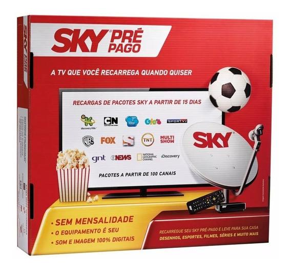 Sky Receptor Pré Pago Hd + Recarga 12 Meses Globo & Sbt