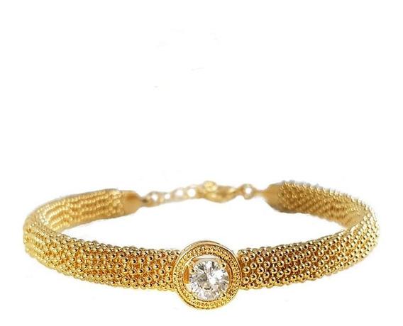 Bracelete Extra Brilho Pedra De Zirconia Cravejada Banh Ouro