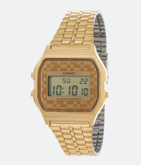 Relógio Vintage Casio Digital A159wgea-9df Dourado/xadrez