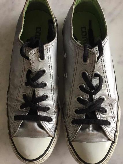 Zapatillas Converse Plateadas Cuero