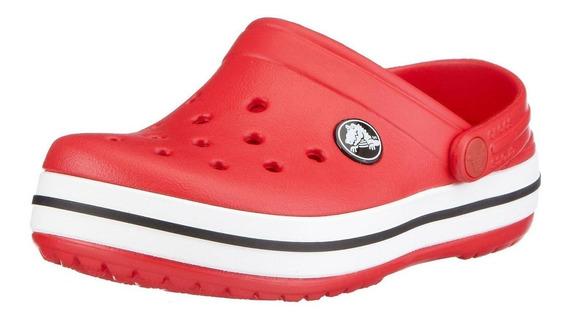 Crocs Crocband Roja Original Nueva Hombre Mujer Banda Blanca
