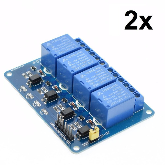 2x Módulo Rele 4 Canais 5v Com Optoacopladores P/ Arduino!!!