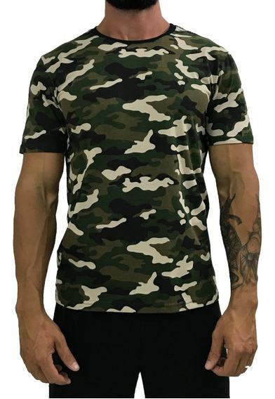 Camiseta Masculina Camuflado Estampada Camisa T-shirt Blusas