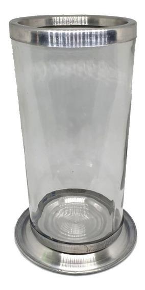 2 Castiçal Copo Para Vela De 7 Dias - Vidro E Alumínio