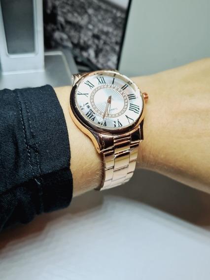 Lindo Relógio Feminino Em Aço Roma