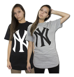 Kit 2 Camisetas Longline Oversized Swag Feminina New York