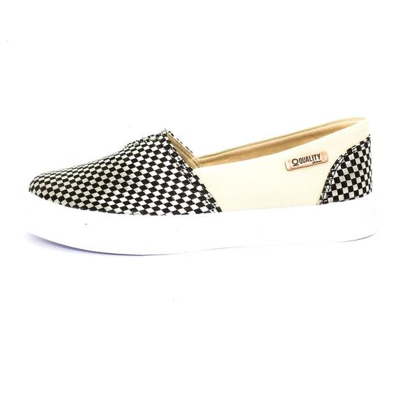 Tênis Slip On Quality Shoes Feminino 002 Trissiê Preto E Beg