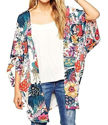 Relipop Blusa Holgada De Chifon Puro Para Mujer. Kimono Con