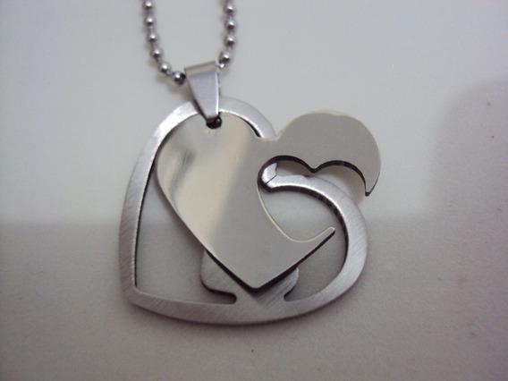 Colar Com Pingente Corações Namorados