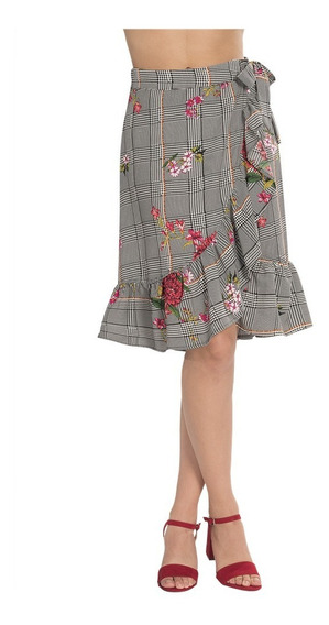 Falda Midi Dama Casual Cruzada Flores X83101