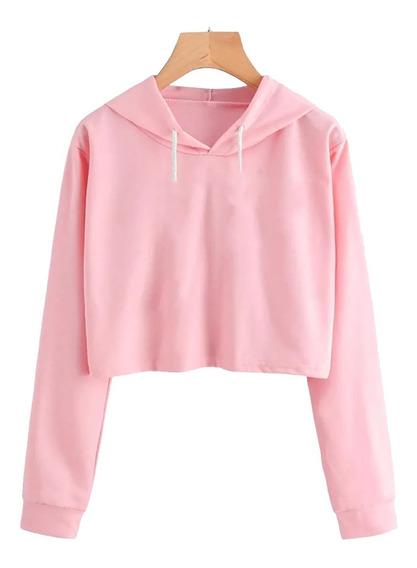 Cropped Liso Moletom Blusa Lisa Casaco Feminino - Promoção