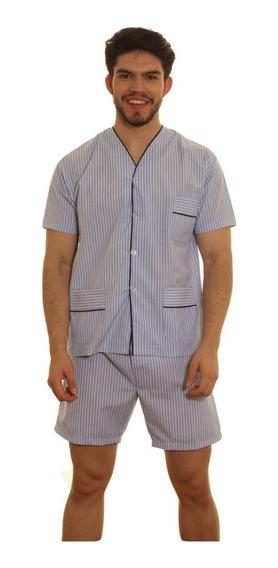 Pijama Hombre Camisero Manga Corta Pantalon Bermuda Especial