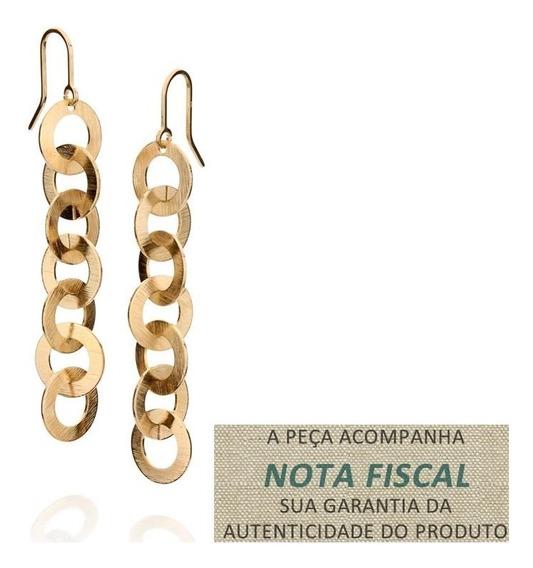 Brinco 14 Círculos Escovados Folheado Ouro Rommanel 523143