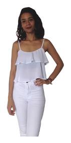 Kit 3 Blusas Femininas Ciganinha Cropped Com Babado Barata