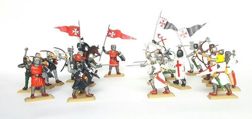 Soldados Medievales Batalla 21 Piezas Pintadas A Mano.