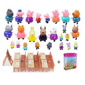 Peppa Pig Escolinha Com 25 Personagens + Mesinhas + Bolsa