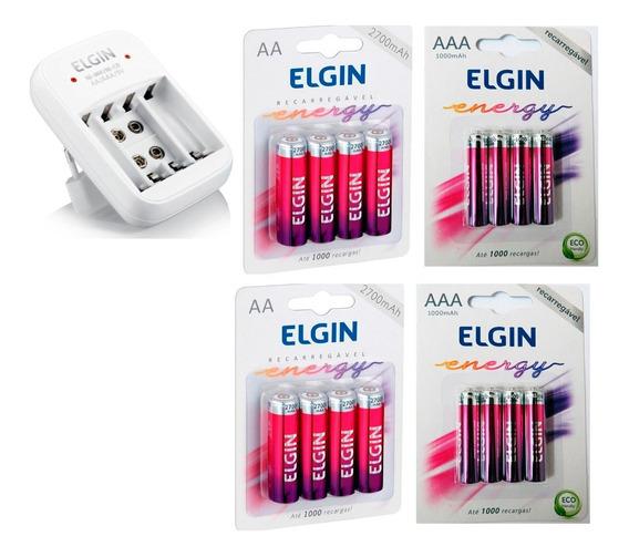 Carreg. Elgin + 8 Pilhas Elgin Aa2700 +8 Pilhas Aaa1000