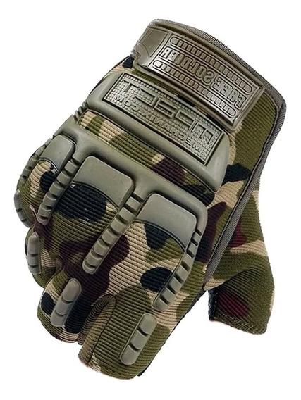Guante Dedo Corto Cortado Moto Con Protección Camuflado