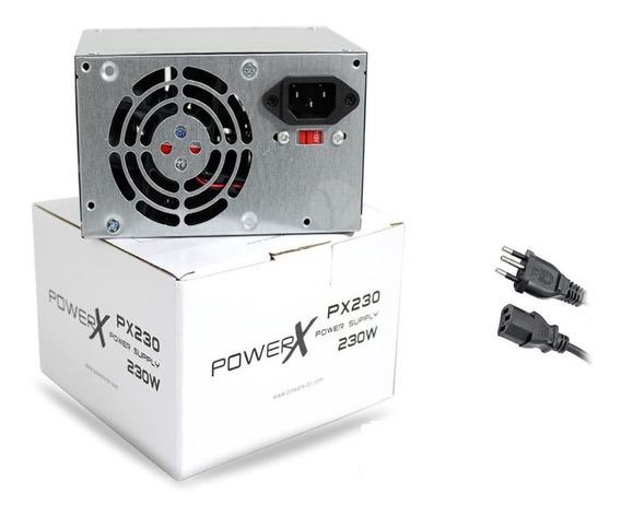 Fonte 230w Atx Real Powerx Com Cabo Px230 24 Pinos 2 Sata