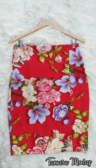 Saia Midi Lápis Com Fenda Vermelha Com Floral Forrada 44 46
