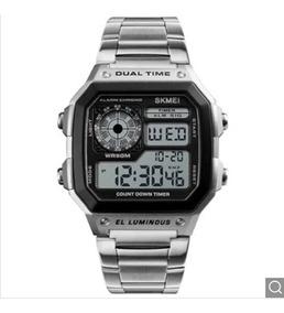 Relógio Digital Masculino Skmei Prata Sport Aço Inox Oferta