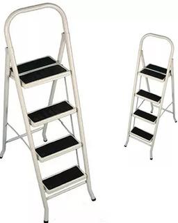 Escalera Reforzada Metalica Soporta 150kg 4 Escalones Tijera