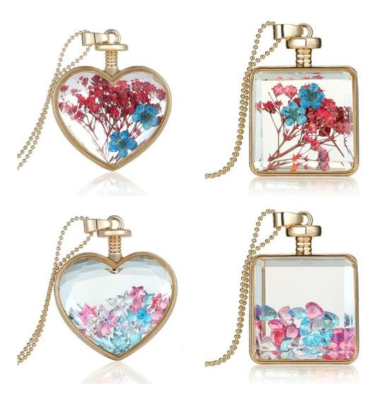 Collar Medallón Pendiente Flores Secas Estrellas Corazones