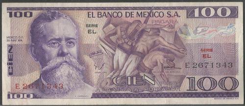 Imagen 1 de 2 de Mexico, 100 Pesos 30 May 1974 Serie El P66a