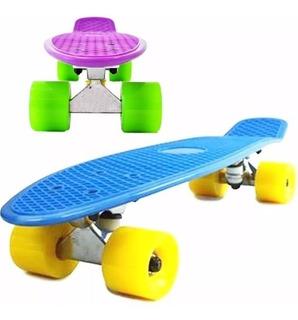 Skate Patineta Mini Longboard Aluminio Colores