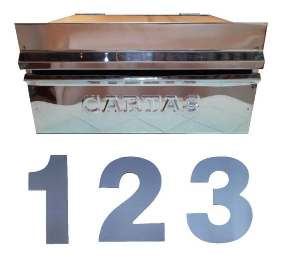 Caixa De Correio Inox Grande 25x32x16+ 3 Números Espelhado